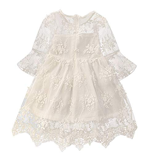 NNJXD Flower Girls Dress Girls Lace Princess Party Pageant Tulle Summer Vintage Dress 5-6 Years 02White
