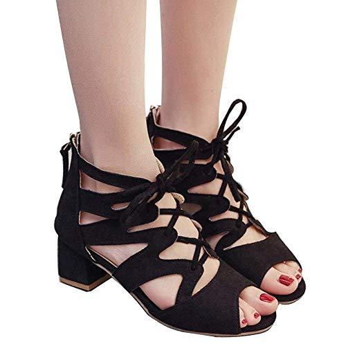 Mode Chaussures Sandales Talon en Talons Ouverte Orteil Élégant Bloc Cheville Partie Minetom Bloquer Noir Femmes à Carrés Daim Hauts D'été XnIaA