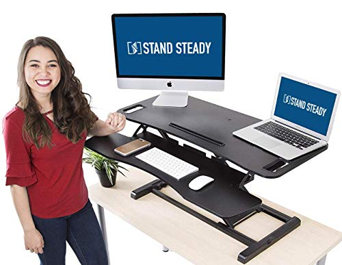 Stand Steady Flexpro Hero Two Level Standing Desk – Easily Sit or Stand in Seconds Large Work Space w Removable Extra Level for Keyboard Mouse Large 37
