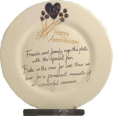 45th Wedding (Sapphire) Anniversary: Plate (Flower) (Rd)