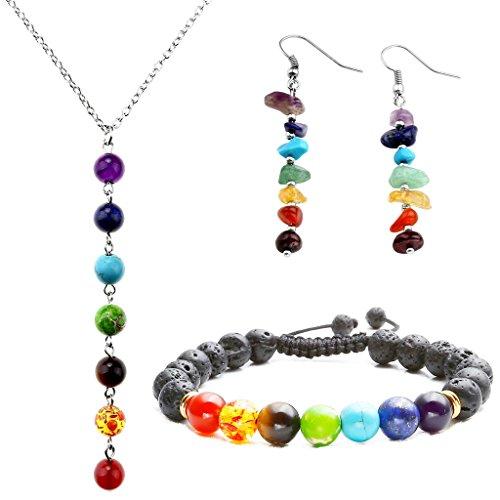Top Plaza 7 Chakra Lava Rock Stone Beads Yoga Reiki Healing Energy Balancing Necklace Bracelets Earrings Jewelry Set(#3 Macrame Lava Rock)