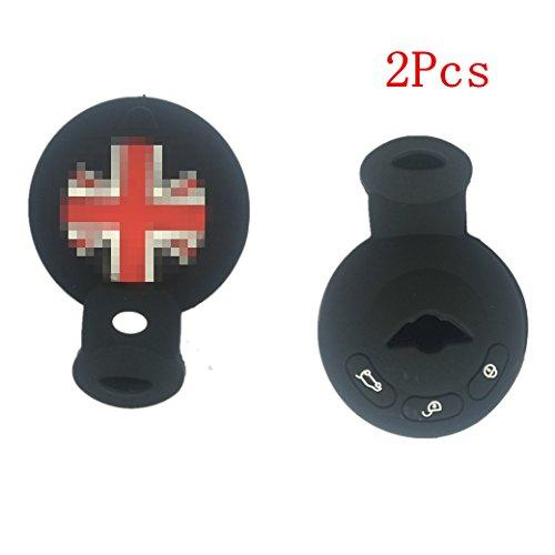 2PCS New Black Protect Silicone Smart Remote Key Cover Case Holder For Mini Cooper S R56 R57 R58](Mini Cooper S Key Case)