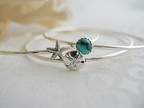 Sterling Silver Starfish Sand Dollar Turquoise Bangle Single or Set of - Bracelet Set Radiant