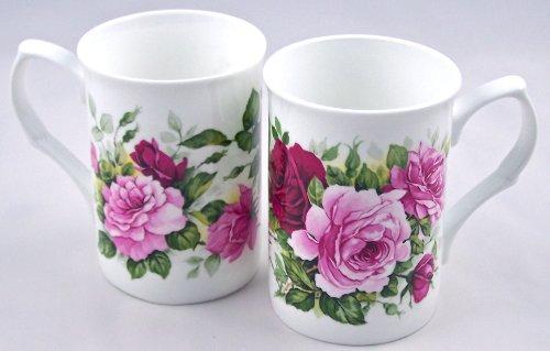 Summertime Rose Bone China - Pair Fine English Bone China Mugs - Summertime Pink Rose Chintz - Large Decal