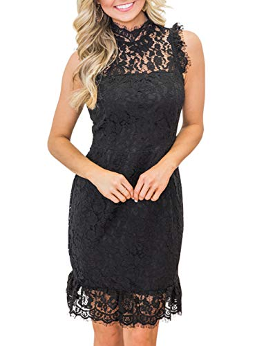 (MEROKEETY Women's High Neck Sleeveless Floral Lace Ruffle Cocktail Party Mini)
