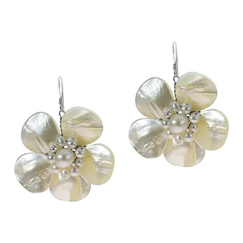 White MOP-Cultured FW Pearls Floral Sterling Silver Hook Earrings