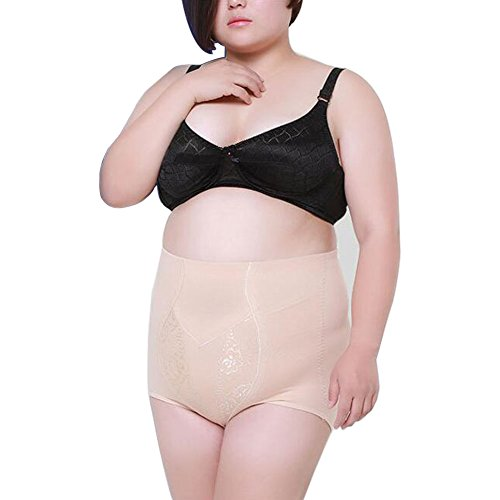 Yuccer Tummy Control Panties, High Waist Plus Size Shapewear for Women Slim Panties Control Top Underwear (Beige, 5XL)