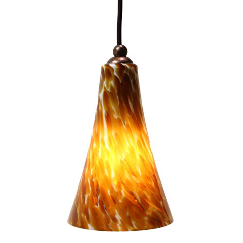 Direct-Lighting DPN-49249-AMBER Adjustable Mini Pendant Light, Amber Glass (Colored Glass Pendant)