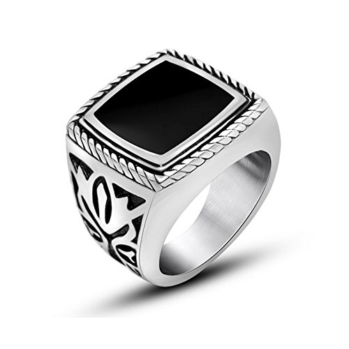 Chryssa Youree Men's Stainless Steel Big Ring Celtic Biker Gothic Band Signet Triquetra Black Silver 7 to 12 (DJZ-041) (Size 12) (Signets Halloween)