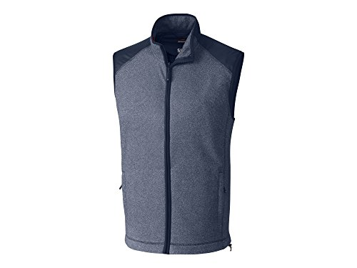 Cutter & Buck Men's Spark Systems Cedar Park Full-Zip Performance Fleece Vest, Liberty Navy Heather X-Large