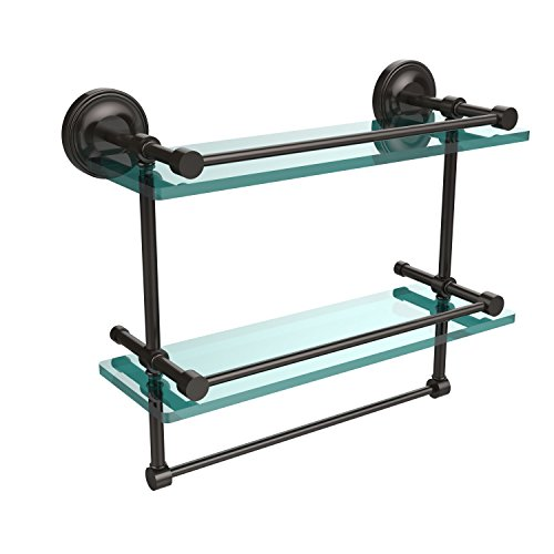 B/16-GAL-ORB 16-Inch Gallery Double Glass Shelf with Towel Bar, Oil Rubbed Bronze ()