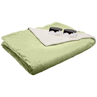 Biddeford 6004-9051136-635 100 by 90-Inch Heated Micro Mink/Sherpa Blanket, King, Sage