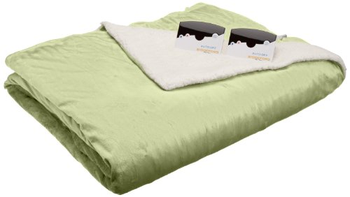 Biddeford 6003-9051136-635 Electric Heated Micro Mink/Sherpa Blanket, Queen, Sage