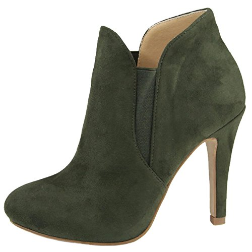 Bella Marie Women's Slip On Stiletto Heel Ankle Bootie (9 B(M) US, Olive IMSU)