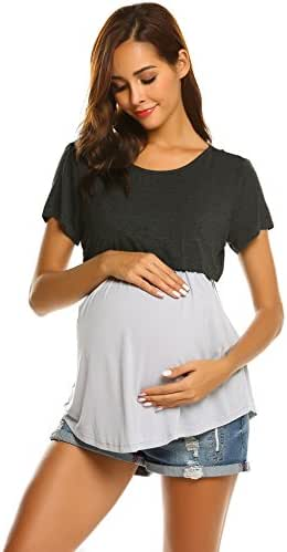Ekouaer Women's Maternity Nursing Top Summer Short Sleeve Comfy Breastfeeding Tees Shirt Pregnancy Shirts