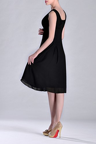 Brides Knee Special Formal of Occasion Black Bridesmaid Mother the Dress Pleated Length C56nq78w