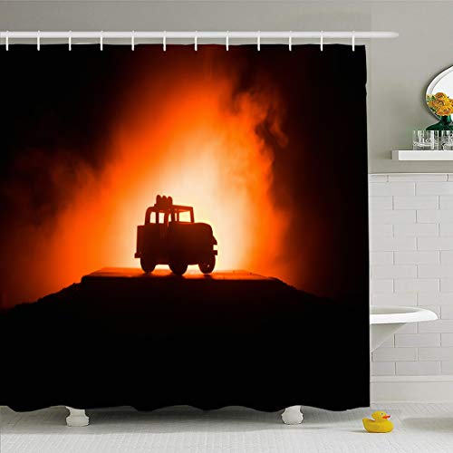 (Ahawoso Shower Curtain 66x72 Inches Car Adventure Off Roader Jeep On Dark Technology Road Action American Auto Automobile Automotive Waterproof Polyester Fabric Set with Hooks)