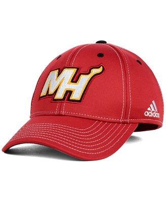 (Adidas Miami Heat NBA Ligature Series Flex Hat)