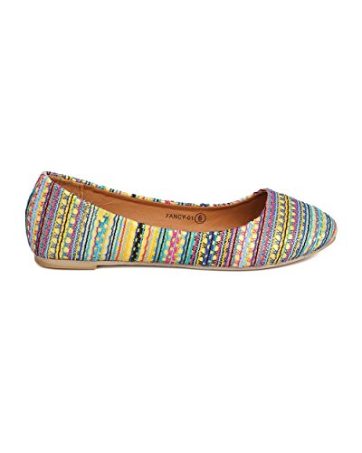 Alrisco Kvinner Mixed Media Stamme Flat - Dressy, Casual, Hverdags - Ballett Flat - Gc68 Ved Refresh Lilla