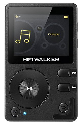 (HIFI WALKER H2 High Resolution Lossless Bluetooth FLAC WAV Digital Audio Player Portable with 16GB microsd Card and HD Audio Earphone)