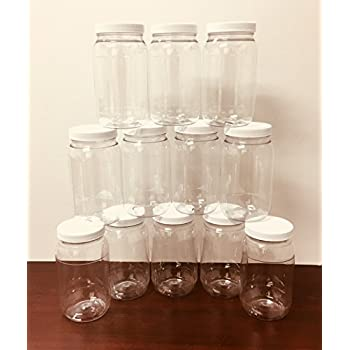 Amazon Com 16oz Wide Mouth Clear Plastic Jars With White