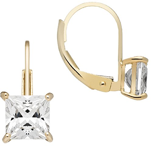 14K Solid Yellow Gold Earrings | Princess Cut Cubic Zirconia | Leverback Drop Dangle Basket Setting | 2.0 CTW | With Gift Box ()