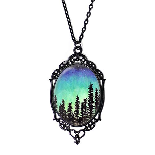 Project Pinup Galaxy Beyond The Forest 30x40mm Black Cameo Filigree Necklace with 18