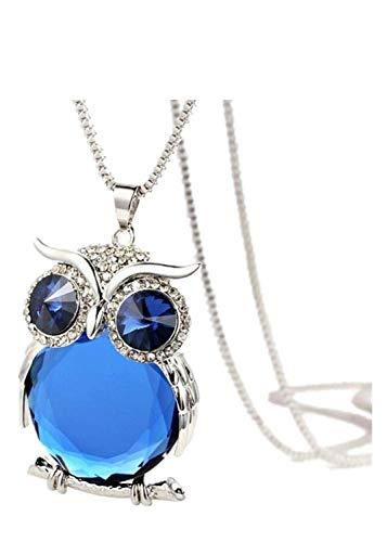 FEDULK Womens Owl Pendant Diamond Rhinestone Novelty Chain Elegant Sweater Necklace Jewelry(Blue)