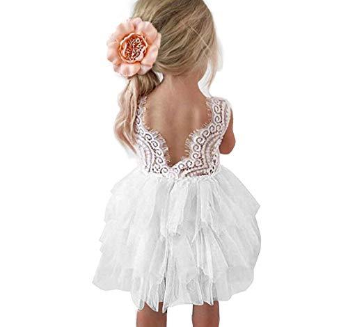 Topmaker Backless A-line Lace Back Flower Girl Dress (1T, White)