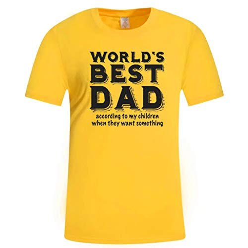 Men's Summer Casual Print Short Sleeve T-Shirt Gift for Worlds Best DAD Tops Yellow]()