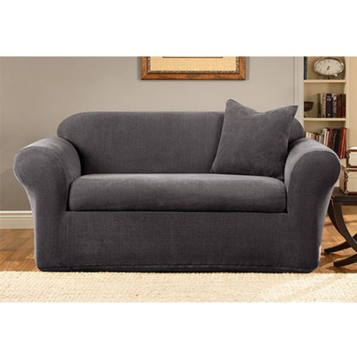 Sure Fit Stretch Metro 2-Piece - Sofa Slipcover  - Gray (SF39413) by Surefit