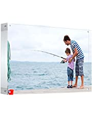 BBDOU Acrylic Photo Frame, Magnetic Acrylic Picture Frames 3x4 inches Picture Display Desktop Bookshelf Standing, Double Sided Thick Picture Frames