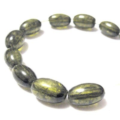 70 Pcs / 32 inch 8x11mm Oval Crackle Glass Beads - Olive Green - A2250 k2-accessories
