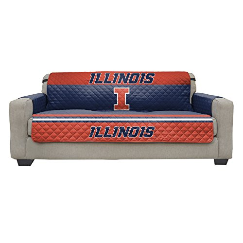 Reversible Couch Cover - College Team Sofa Slipcover Set / Furniture Protector - NCAA Officially Licensed (Couch / Sofa, University of Illinois Fighting - Illinois Dorm Illini Fighting