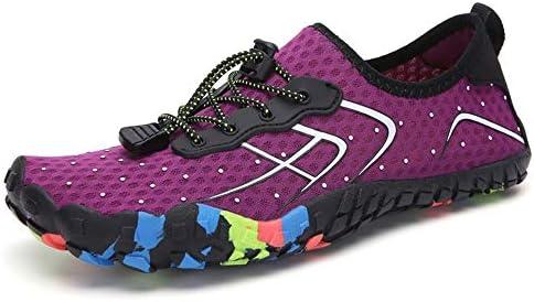 アウトドアスポーツの女性と男性のカップルの靴速乾性排水通気性ソフト軽量上流ハイキングシューズカジュアルサーフィンビーチスイミングシュノーケリングシューズゴムバンド ポータブル (色 : Purple, Size : US8)