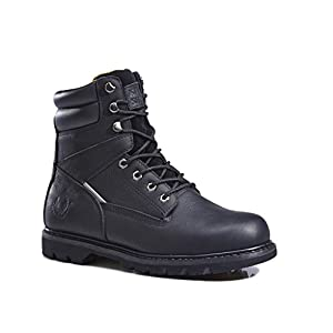 KS Men's 1312-3 Black Leather Rubber Sole Soft Toe Work Boots 6 M US