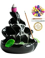 VVMONE Cute Ceramic Backflow Incense Holder Waterfall Incense Burner with 100 Incense Cones and 30 Incense Stick, Incense Fountain for Home Decor, Desk Decor