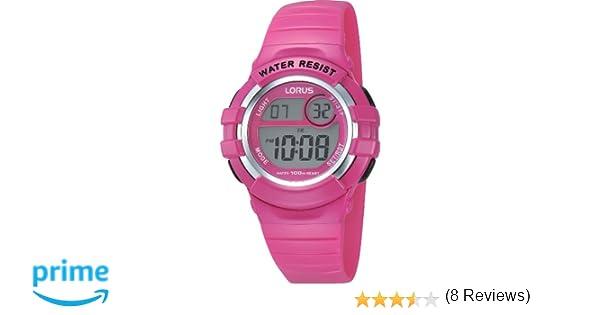 Lorus Kids R2387HX9 - Reloj Digital de Cuarzo para niña, Correa de Goma Color Rosa (cronómetro, luz): Amazon.es: Relojes