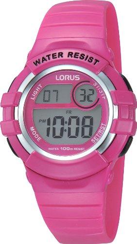 Lorus Kids R2387HX9 - Reloj Digital de Cuarzo para niña, Correa de Goma Color Rosa