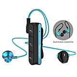 Botrong Bluetooth Headphones,Magnetic Headsets Stereo Bass Sound Waterproof Earbuds with Microphone (Blue)