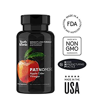 100% Natural Apple Cider Vinegar Capsules with Probiotics, Chromium and Fibers. Appetite Suppressant, Detox Cleanse Weight Loss Pills, Metabolism Booster, Non-GMO - 60 Veggie Apple Cider Vinegar Pills