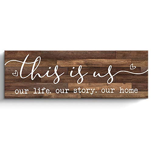 This Is Us Prints Signs for Home Decor, Inspirational Family Canvas Wall Art Framed, Retro Artwork Decoration for…