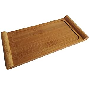Arlai (10.63 x 5.12x0.39 inch/LxWxH) Tasteful Small Bamboo Gongfu Tea Table Serving Tray 27x13x1cm