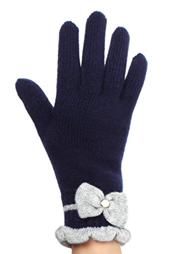LL Womens Warm Winter Knit Fashion Gloves, Fleece Lined - Many Styles (Pearl Navy Blue) (Pearl Plush Fleece Glove)