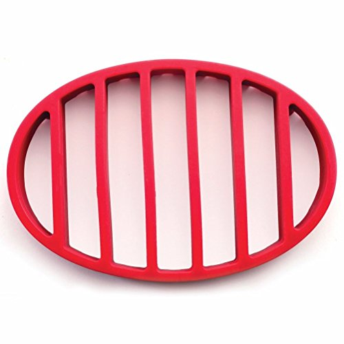 Sunnyfly Red Oval Silicone Roasting Roast Turkey Chicken Pork Fish Rack Trivet