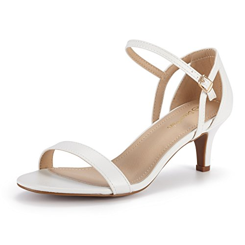 DREAM PAIRS Women's Lexii Fashion Stilettos Open Toe Pump Heel Sandals White Flat Heel