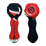 Silicone Travel Foldable Unbreakable Art Hose 4.2 inch Long (Red&Black&White)