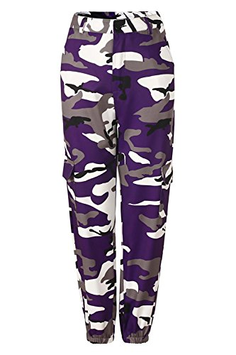 Womens Camouflaged Camo Cargo Trousers Cool Pants Military Army Casual Pants with Multi-Pockets
