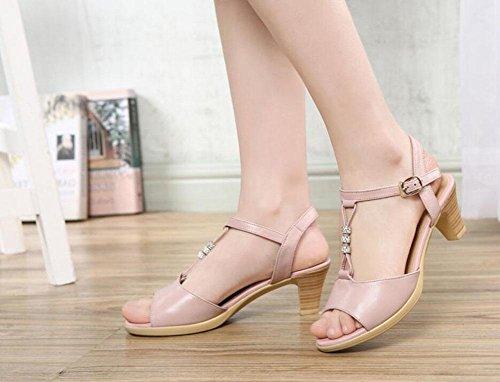 QL@YC Frauen Sandals Sommer Rau Mit Casual Leder Fisch Mouth Sandalen Komfortabel Large Size Kleid WomenS Shoes , pink , 39