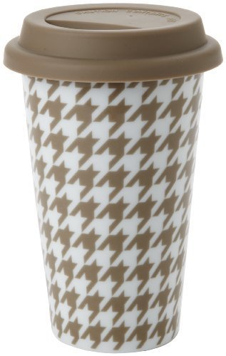 Yedi Houseware Classic Coffee and Tea 11-Ounce Houndstooth Mug, Beige